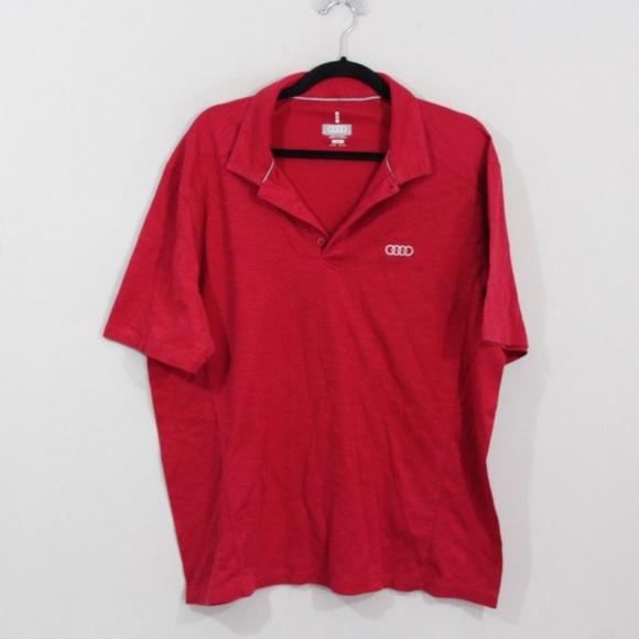 d99eec76d Audi Shirts | Mens L Car Logo Golf Polo Shirt Red Cotton | Poshmark
